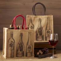 Wine Motif Bottle Tote