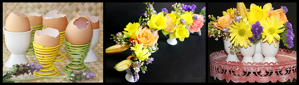 "Spring Flower Arrangements in ""Eggshell Vases"""