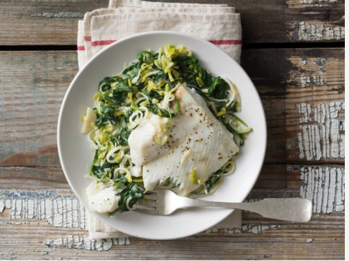 Baked Halibut with Spinach and Leeks